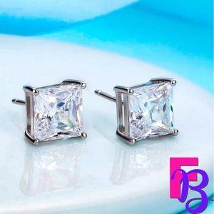 2.5 CTW Princess Cut Stud Earrings